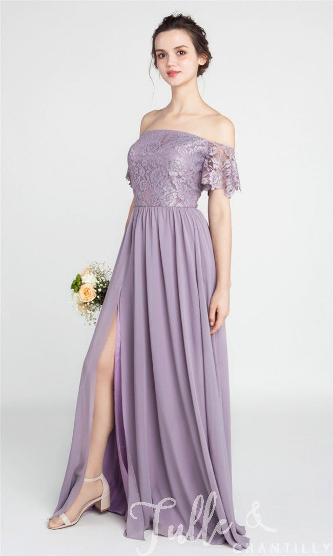 Gorgeous Lace Off The Shoulder Bridesmaid Gown With Chiffon Skirt Tbqp402 Bridesmaid Gown Off Shoulder Gown Bridesmaid Bridesmaid Dresses