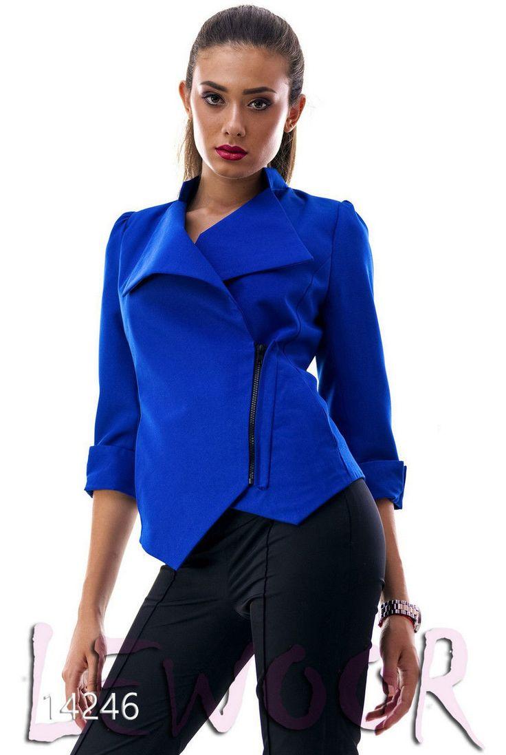 Приталенный пиджак на змейке, рукав 3/4 - купить оптом и в розницу, интернет-магазин женской одежды lewoor.com