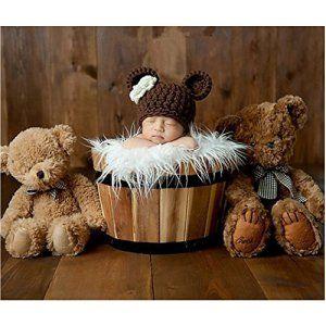 binlunnu nouveau-né bébé Photographie Props garçon fille Crochet Chapeau Costume Tenues mignon ours