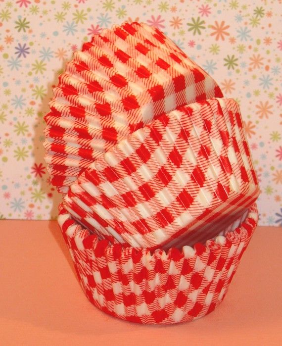 Orange Country Gingham Cupcake Liners