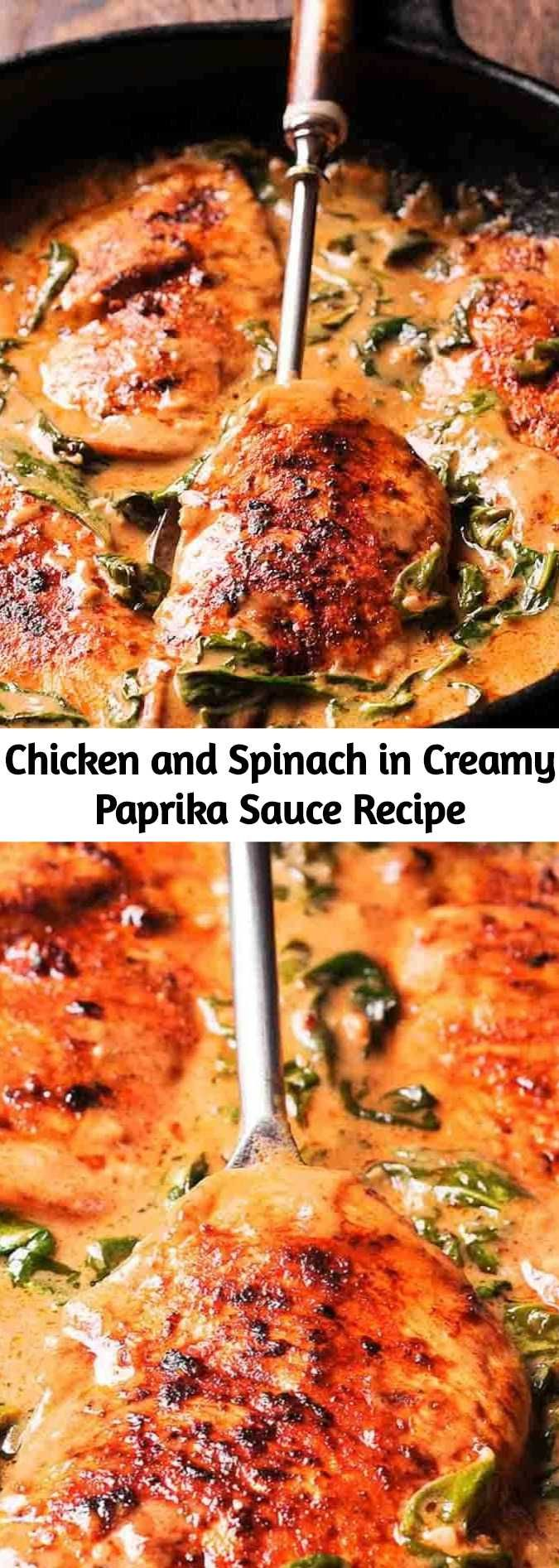 Chicken and Spinach in Creamy Paprika Sauce is an amazing one-pan dish with an a…