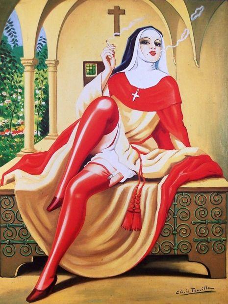 'Religieuse italienne fumant la cigarette' (Italian nun smoking a cigarette) by…