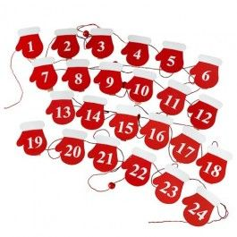With 24 mitten-shaped pegs. Use to hang cards or for Advent treats.