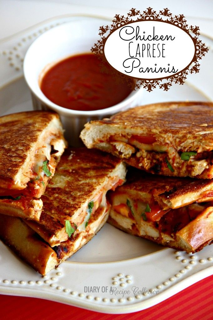 Chicken Caprese Paninis- Easy grilled panini made with grilled chicken, roma tomatoes, basil, mozzarella, and pizza sauce.