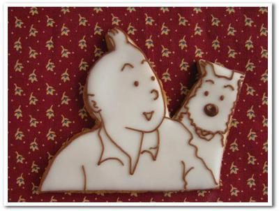 Tintin cookies iced biscuits • Tintin and Snowy biscuits • Tintin, Herge j'aime