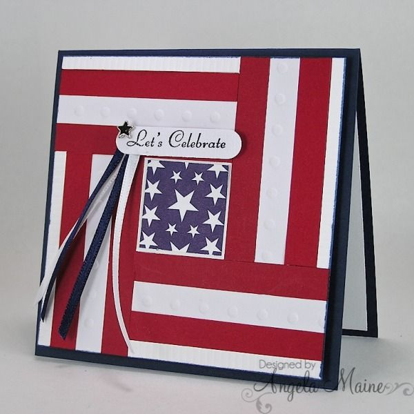 handmade card for Independence Day! ... qio;t block style with red and white striped panels surrounding a square of stars ... luv it! ...