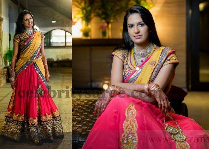 Bride in Pink Half Saree