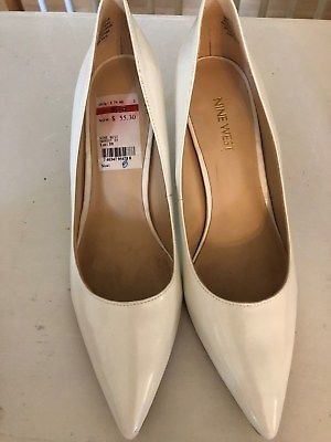 9a192c691965 Nine West Margot 8 M White Faux Leather Dress Classic Pump Pointed Shoe