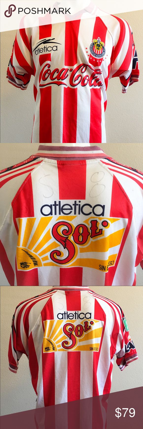 Atletica Coca-Cola Jersey Club Deportivo Shirt Atletica Mexico Club Deportivo Guadalajara FMF Official Jersey Shirt -Preowned shows signs of Wear  Size: XL -T- Atletica  Shirts