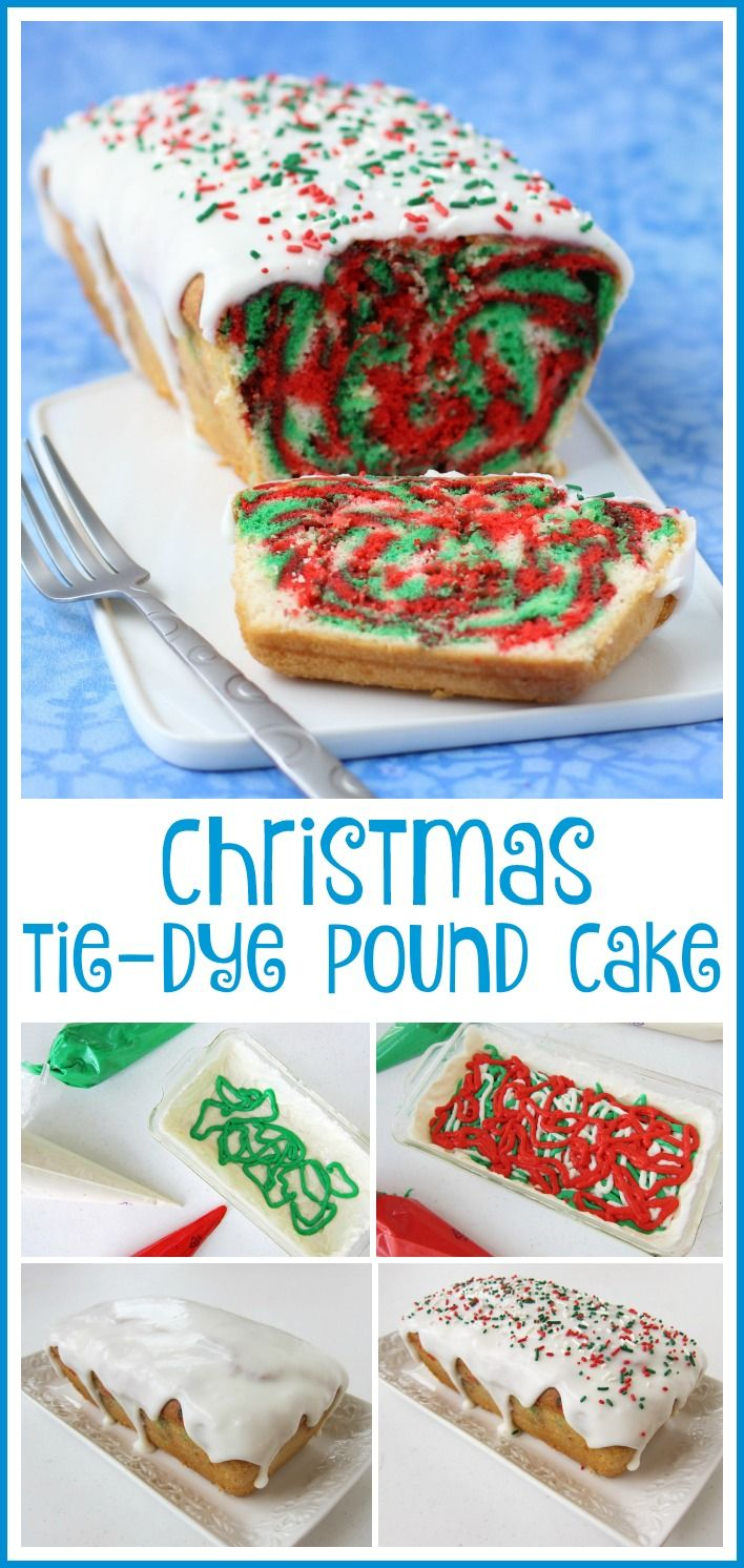 Cut into a slice of this Christmas Tie-Dye Pound Cake to reveal swirls of red, white, and green color. This cake is as fun to make as it is to eat. See how at HungryHappenings.com.