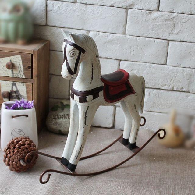 Урожай Творческий Европейский Гостиная Ремесло Украшения Миниатюрные Фигурки Игрушки Пожимая Деревянная Лошадь Спальня Декор