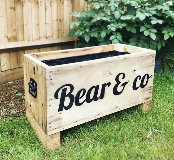 """Upcycled Garden Box Herb Planter   I fell in love with this old box found in a wood reclamation yard, it was only £8. I thought the handles were pretty cool so I bought it, treated it, cut a stencil and spray painted the words """"bear & co"""" for my little boy aka bear to grow his own herbs/veg!"""