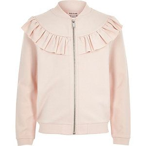 Girls pink ruffle sweat bomber jacket