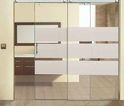 Puerta de cristal corredera con tres franjas verticales for Perchas adhesivas para puertas