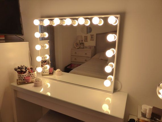 Deluxe vanity mirror  extra large hollywood lighted Perfect for IKEA malm table Wall hanging Bulbs are not included Best 25 Plug in lights ideas on Pinterest