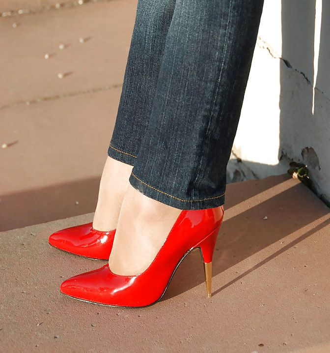 Red high heels and jeans. | Red High Heels | Pinterest