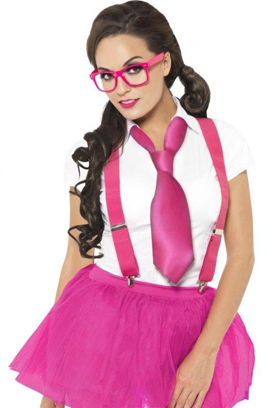 Zestaw Grzeczna Uczennica w kolorze różowym. Doskonałe uzupełnienie stroju na wieczór panieński.