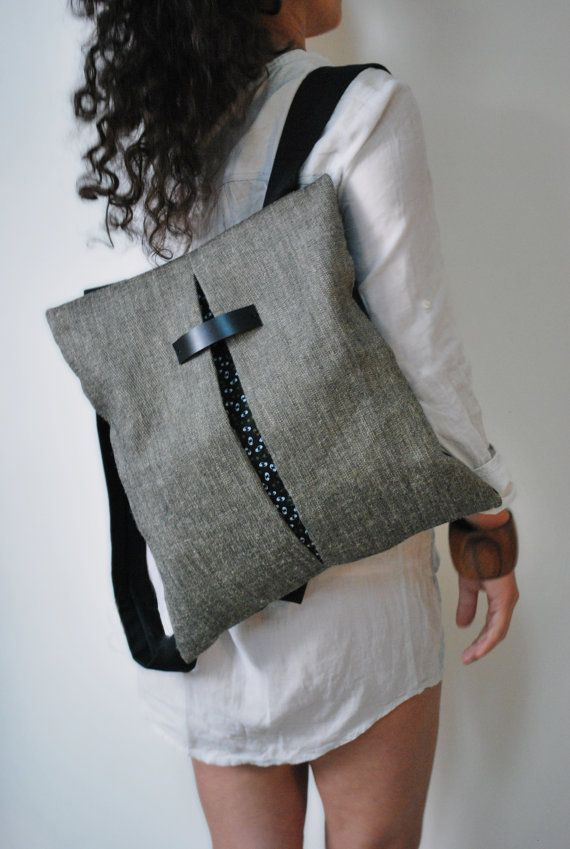 Minimal backpack  messenger bag Gray Jute bag Black canvas Cotton fabric Comfortable handmade women bag Stylish College bag Gift for her
