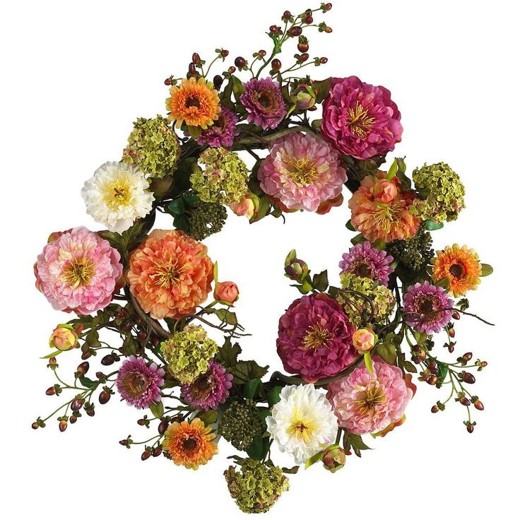 24 In. Peony Silk Plant Wreath, Multi