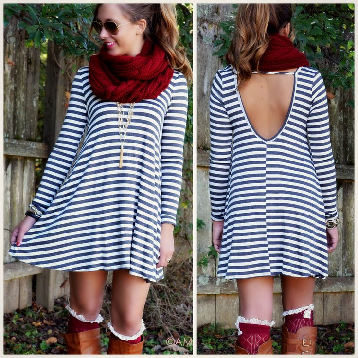 charcoal striped shift dress with scoop back fashion trend