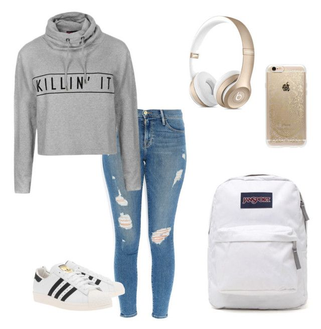 """""""School outfit #1"""" by sarsar55778 on Polyvore featuring Frame Denim, adidas Originals, JanSport, Ally Fashion and Rifle Paper Co"""