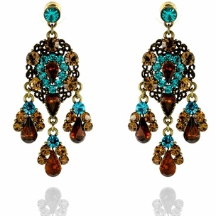 Jenita Earrings http://blossomboxjewelry.com/e1342.html #indian #jewelry #fashion #bollywood #designer #earrings #blue #bronze