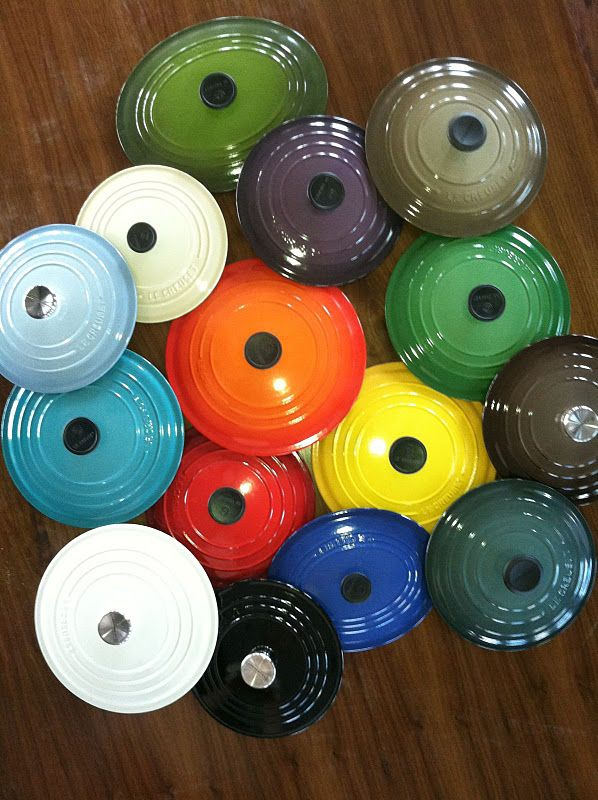 Le Creuset Lids. I want a huge multi colored collection.