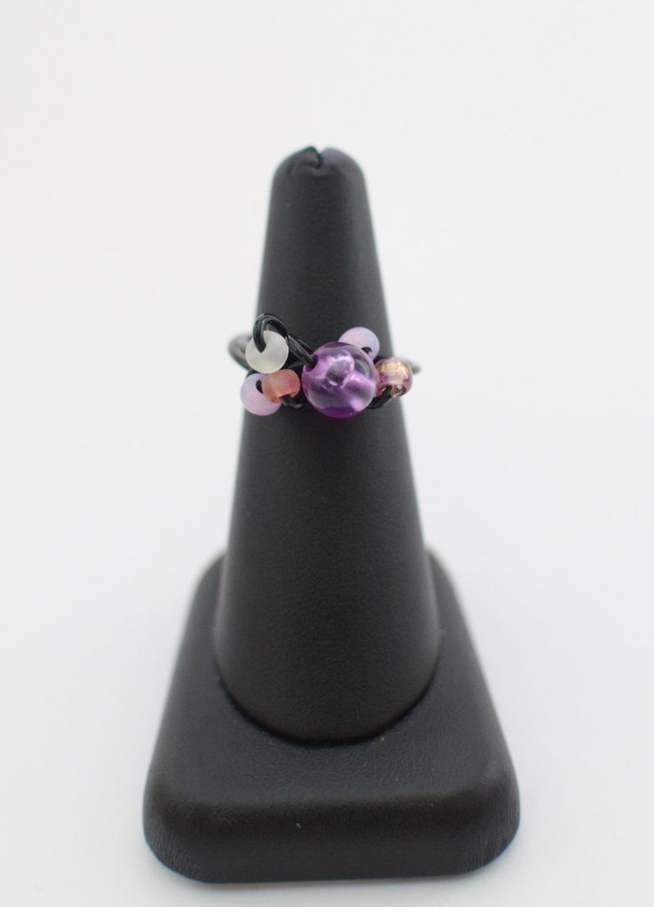 Wire ring, summer, spring ,purple with black wire by MadebyLaure on Etsy