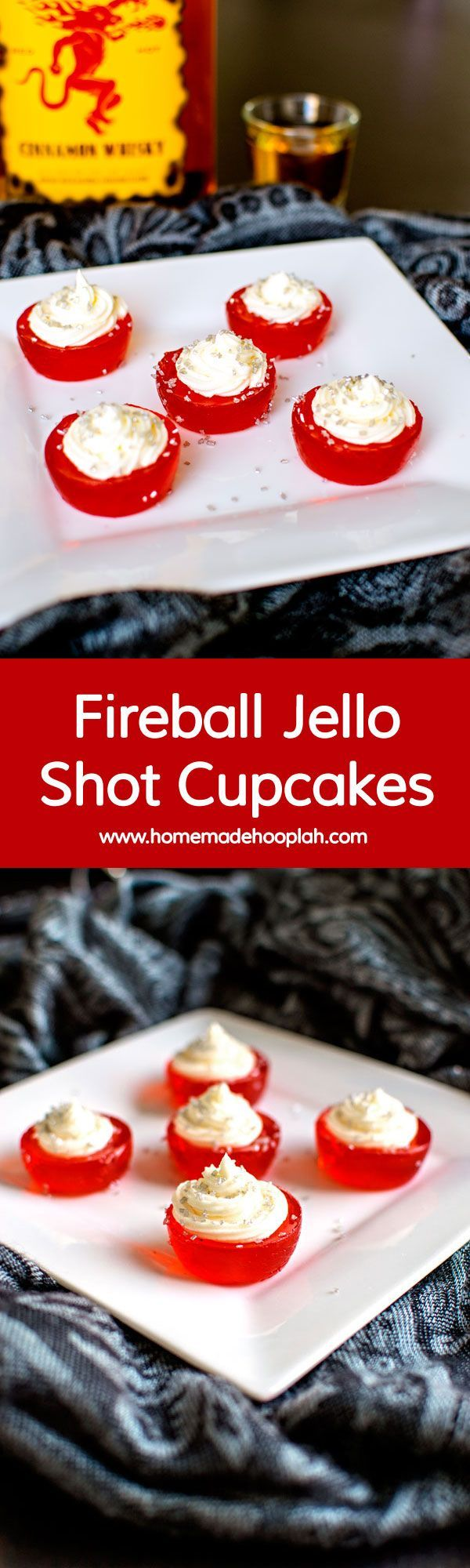 Fireball Jello Shot Cupcakes! These Fireball Jello Shot Cupcakes are infused with Fireball whisky and topped with Fireball butter cream frosting. Another way to warm up your holiday! | HomemadeHooplah.com:
