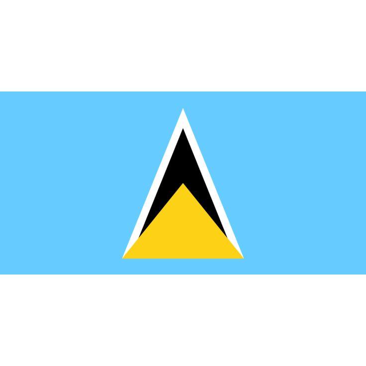 Tafelvlaggen Saint Lucia 10x15cm   Saint Lucia's tafelvlag e vlag van Saint Lucia werd aangenomen op 1 maart 1967. De vlag is blauw, met een gouden driehoek onder een zwarte pijl met een witte rand.  De zwart-goud gelaagde driehoek symbliseert de Pitons, twee heuvels nabij Soufrière die herkenningspunten van het eiland zijn.