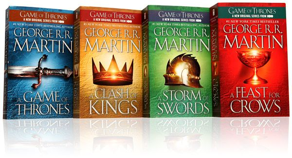 Great set of fantasy books.  Was so glad when HBO started showing because until then I knew nothing about them.  I have read the first three and am waiting for the 5th to be released in paperback, then will read the 4th and 5th.  Plenty of political intrigue, war and a very little romance, but exciting to read!