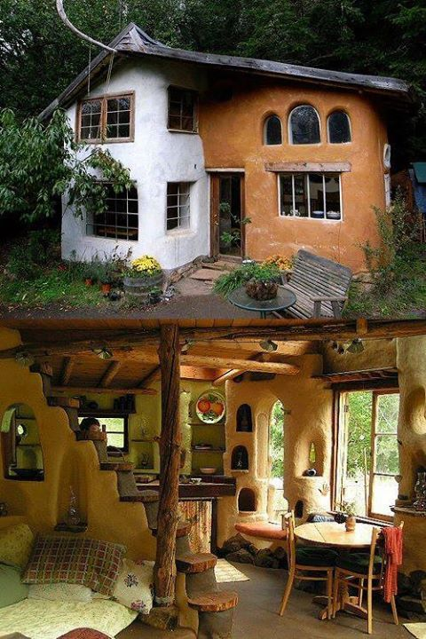 Colorful; window styles; nooks; curved cob/wooden staircase; warm colors; natural light