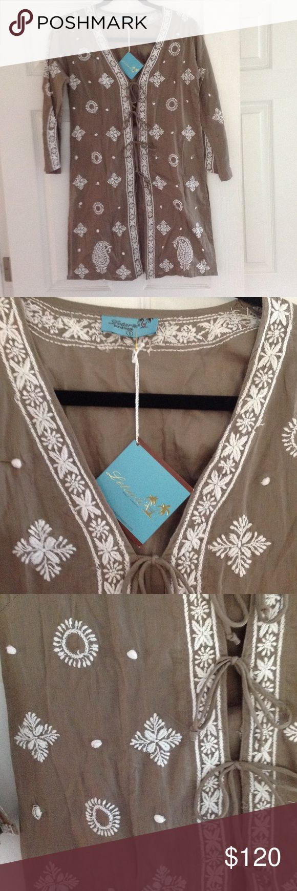 One day sale!  New Letarte coverup New! Handmade!  Org $228 Taupe/green color with white embroidery Letarte Swim Coverups