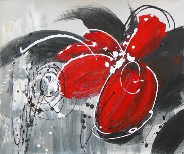 Peinture moderne fleur rouge. Tableau toile fleur rouge huile sur toile. Montée sur châssis. Orientation horizontale.