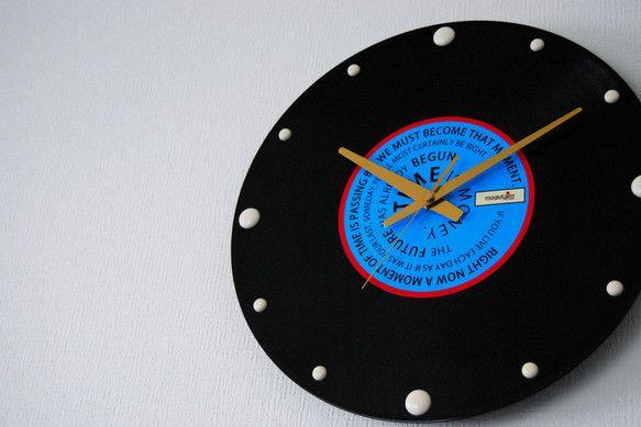 《レコード盤時計(時間に関する名言)②》30cm×30cm