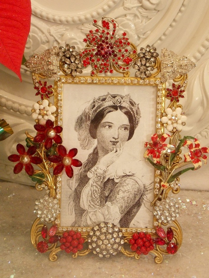Gorgeous Vintage Rhinestone Earrings Brooch buttons picture Frame * jewelry red   eBay
