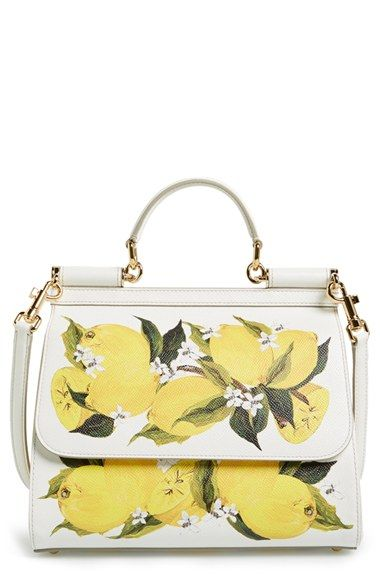 Dolce&Gabbana 'Medium Miss Sicily' Lemon Print Leather Satchel available at #Nordstrom