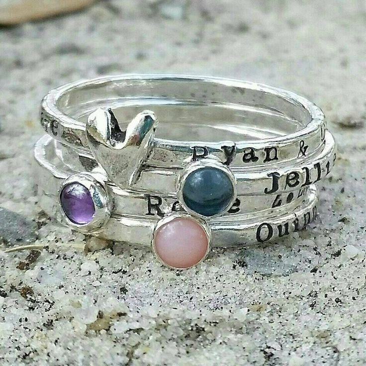 Personalized mothers stacking ring, custom hand stamped ring, silver mothers ring, mother gift, mom to be gift, Grandmother gift,  push gift by JillAllenDesign on Etsy https://www.etsy.com/listing/255216379/personalized-mothers-stacking-ring