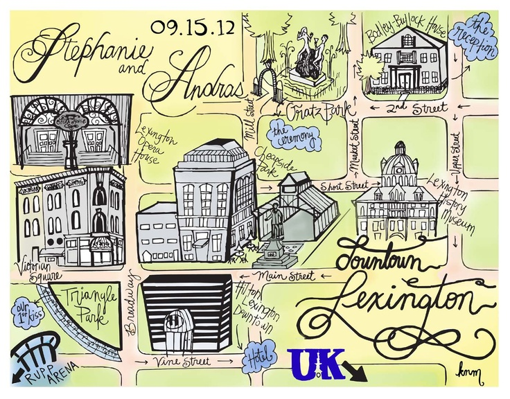 Custom HandDrawn Wedding Map for Franklin TN Wedding Wedding