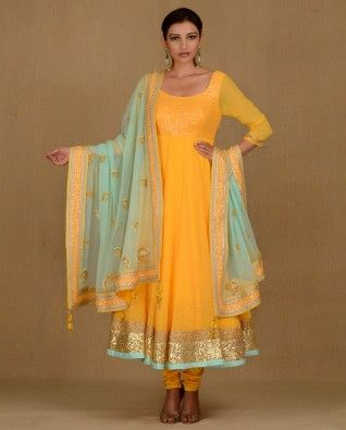Sun Yellow Anarkali Suit with Sequins