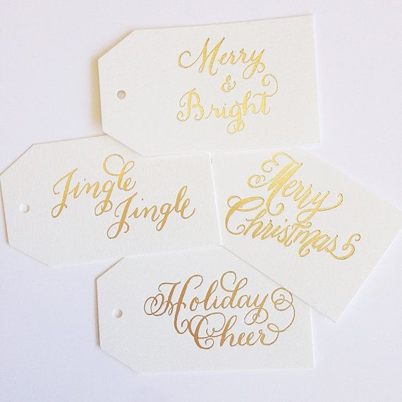 Gold Foil Holiday Gift Tag Set of 10 by LHCalligraphy on Etsy