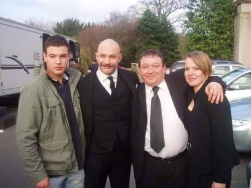 Tom with fans on the set of Bronson (2008).