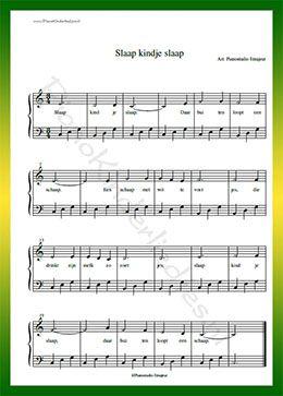 Slaap kindje slaap  - Gratis bladmuziek van kinderliedjes in eenvoudige zetting voor piano. Piano leren spelen met bekende liedjes.