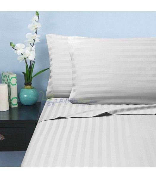 White Stripe Twin XL Sheet Set Egyptian Cotton 1000 Thread Count