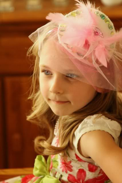Have Each Girl make their own tea party hat at the start of the party as an activity - then choose other dress up clothes
