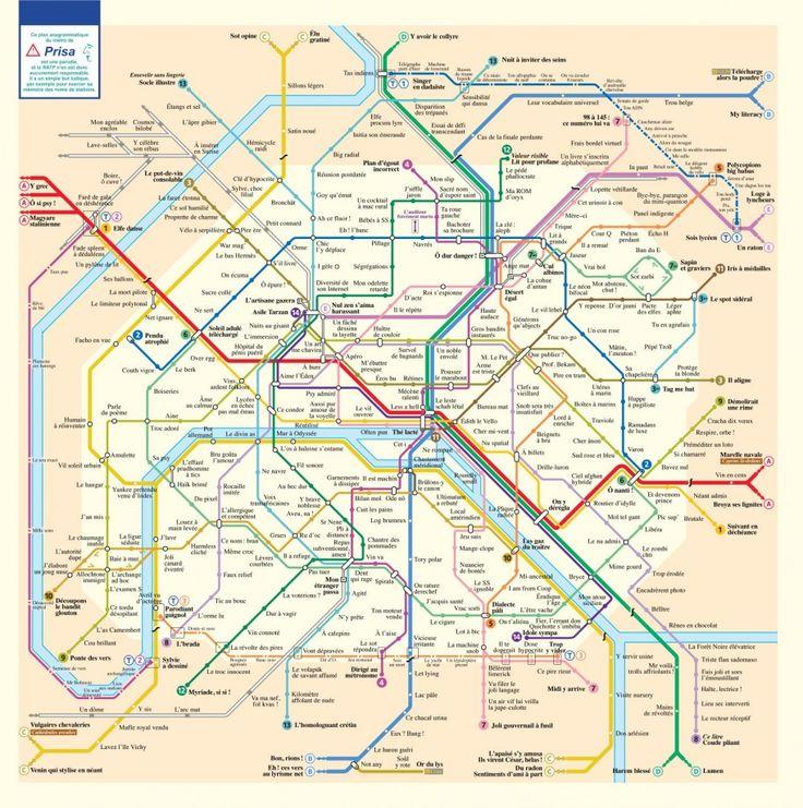Le plan des stations du métro de Paris en anagrammes - La boite verte
