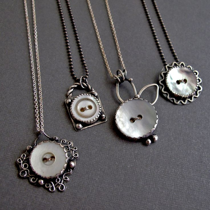 https://flic.kr/p/9gK9Jo | Vintage Button Necklaces | mother of pearl buttons, sterling silver