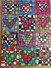 could so use this artists work as a starting point for a art lesson mosaic pop art heart canvas for valentines from pen and ink cool quick to make gift for