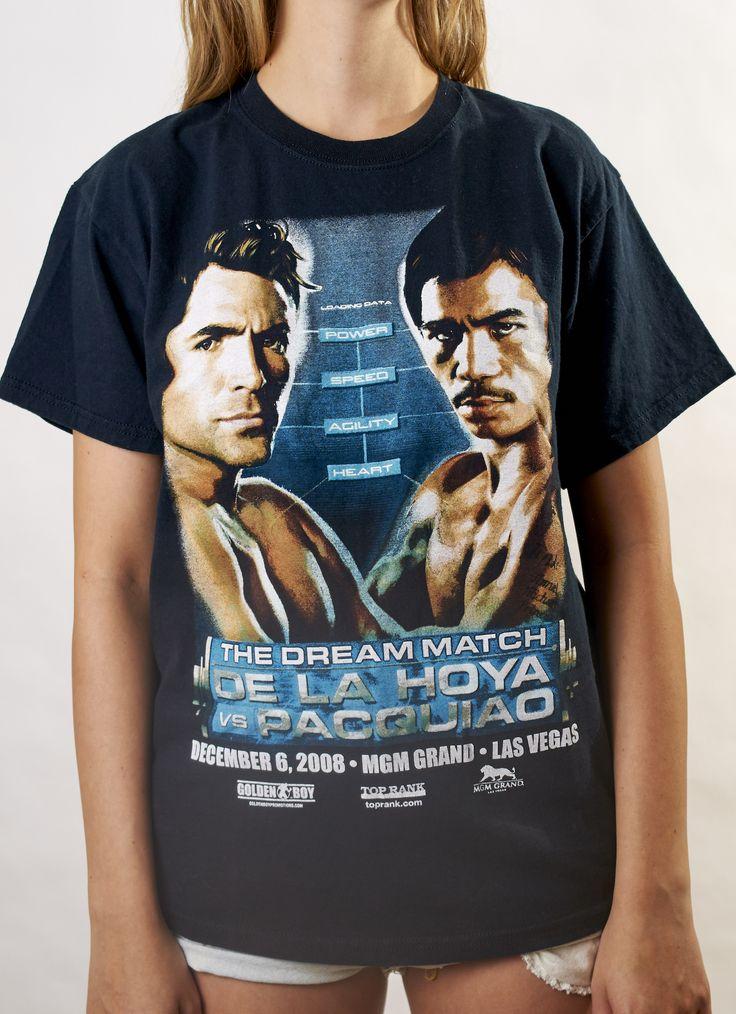 Pre-Vintage De La Hoya vs Pacquiao Fight Tee | BAD Denim Custom #baddenimlv #vintagetee #vintagefashion #90skid #vintagetshirt #wranglers #levis #90s #onlineboutique #fightnight #fighttee #mannypacquiao