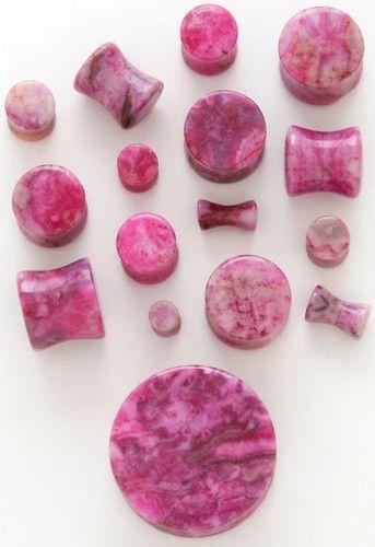 Pair of Pink Fuschia Agate Stone Ear Plugs - 100% Organic & Handcarved (Fushia)